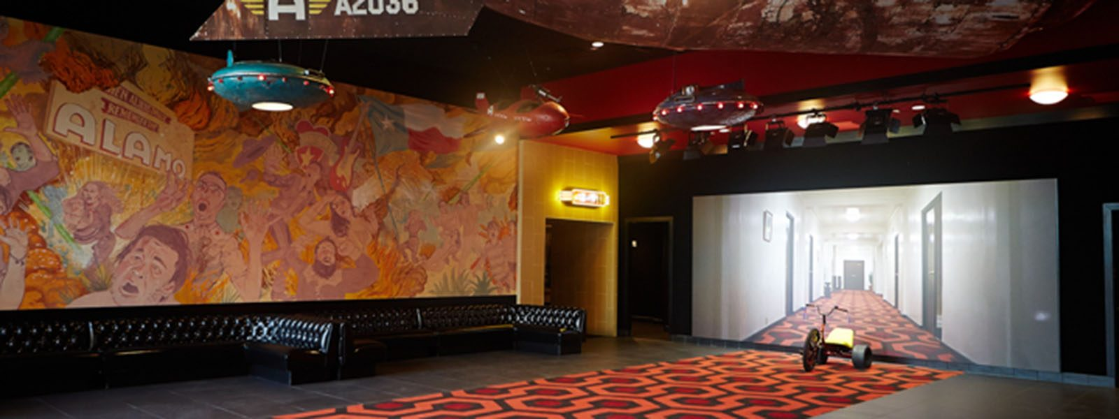 Lobby of Alamo Drafthouse South Lamar in Austin, Texas